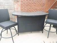 Rattan garden patio bar and stools