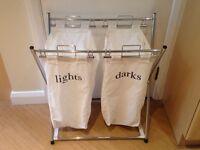 HOME folding double canvas laundry sorter - Natural @ Argos