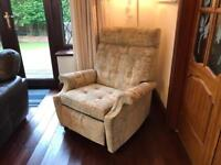 Parker Knoll Cream Fabric Patterned Armchair Good Condition