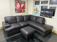 Right corner 5 seater brown sofa with stool