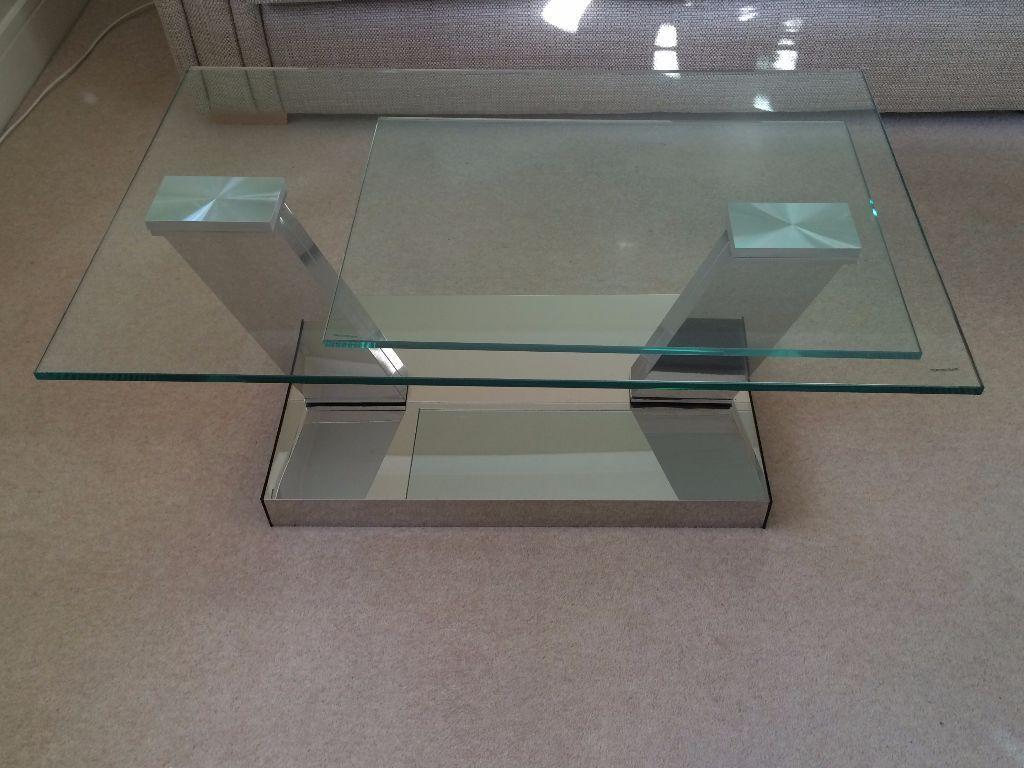 Glass Swivel Coffee Table.Fishpools Contemporary Column Swivel Glass Coffee Table In Excellent Condition In Hitchin Hertfordshire Gumtree