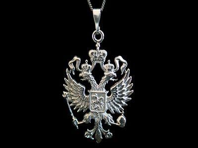 patriotischer Anhänger silber 925 Russische Adler Russland Russia