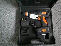 Challenge battery drill with drills and screwdriver bits