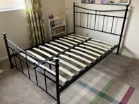 Black mental double bed frame
