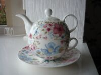Whittard Tea for One Bone China Teapot, Cup and Saucer