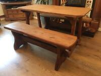 Solid Wood Oak Dining Table With two bench set