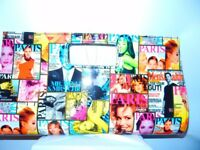 SALE Womens Multicoloured Magazine Print Casual Clutch Bag Hand