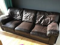 Brown leather sofa- well loved and VERY comfortable