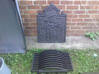 Cast iron fire back plate and basket