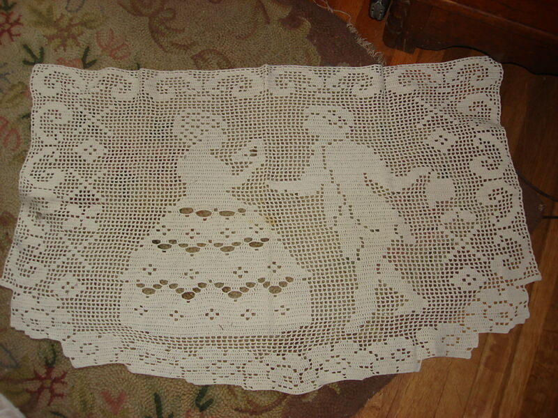 """Vintage Crocheted Large Doily COLONIAL COUPLE 33""""X20"""""""
