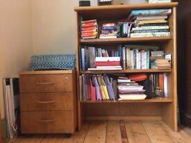 Post 1960s walnut bookcase & desk pedestal/drawers