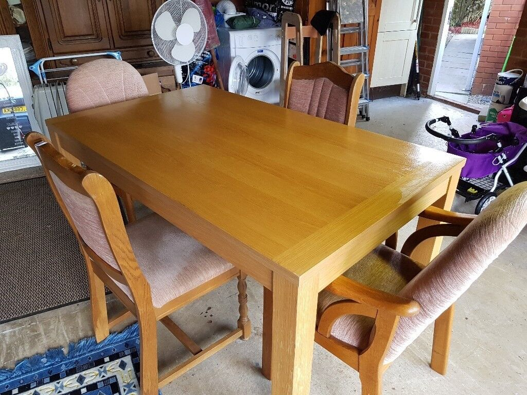 Oak Effect Table And Chairs