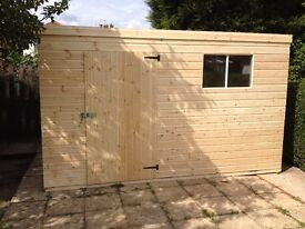 GARDEN PENT SHED/WORKSHOP 10X8 HEAVY DUTY TONGUE AND GROOVE WELL MADE BUILDINGS NOTTINGHAMSHIRE.