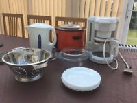 KETTLE, FILTER COFFEE MAKER, SLOW COOKER, COLANDER, PLATES, CASSEROLE DISH