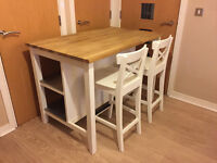 IKEA Free-standing KITCHEN ISLAND and 2 BAR STOOLS - White / oak / Solid wood