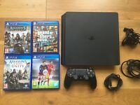 PS4 slim 500GB + 4 games + 1 controller