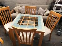 Wooden Dining Table With Glass Top & 4 Chairs