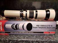 Opteka 650-1300mm High Definition Telephoto Zoom Lens For Nikon