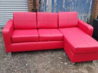 Good looking Brand New Red leather corner sofa. or use as 3 seater and puff. can deliver