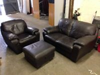 Dark Brown 2 + 1 Seat Sofa & Storage Stool