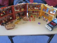 PLAYMOBIL HUGE LOT STABLES POOL HOUSES ANIMALS FURNITURE PEOPLE PIRATE SHIP 100,s Pieces all VGC