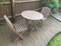 small fold-able table and 2 chairs ideal small garden