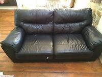 Black leather sofas (3 & 2 Seater)
