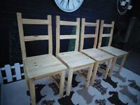 4 IKEA PINE DINING CHAIRS ALL IN EXCELLENT CONDITION 40/41/95 cm £50