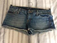 Ladies low rise short denim shorts, size 8 (US size 4), £5