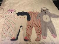 Four fleece onesie aged 2-3 years