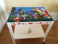Hand painted trolley, small table, chair