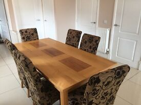 Large oak dining table and 6 chairs for sale