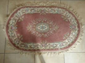 Oval Chinese Rug - Pink - In Good Condition - Overall Size 130cm by 90cm