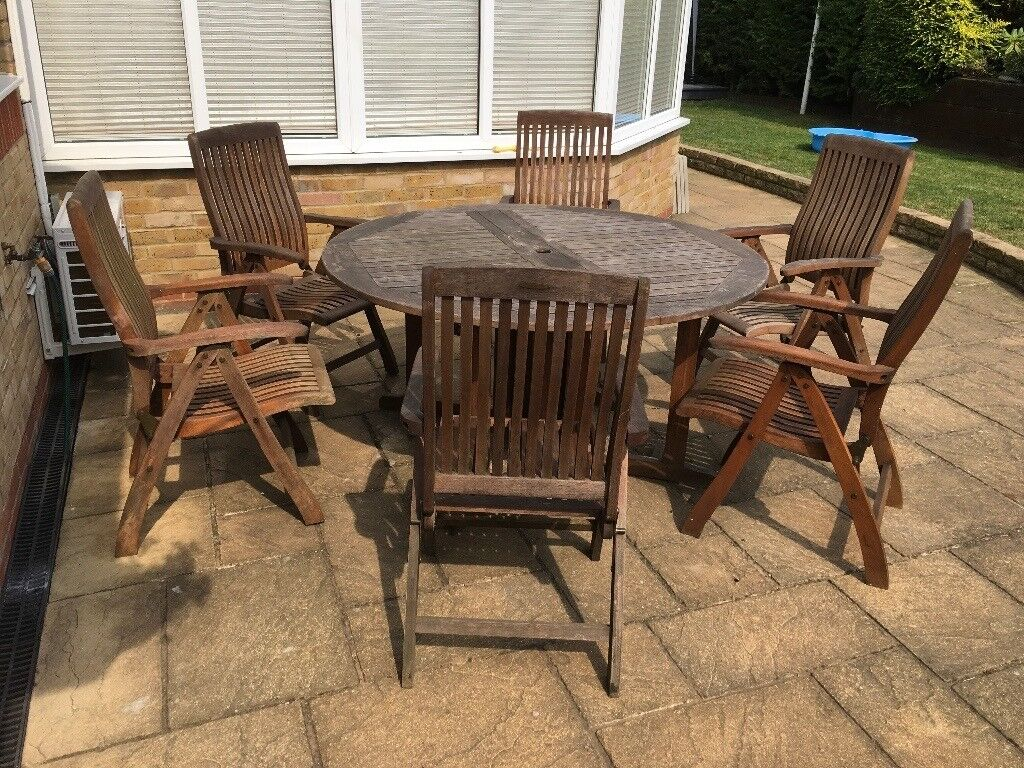 Teak garden patio round table Winchester six recline chairs