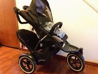 Phil & Teds Navigator pushchair buggy - double seat with rain cover
