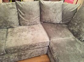 Beautiful silver valour corner sofa and chair