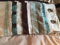 Fully Lined Next Curtains - Beige, Teal & Brown