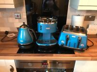 Delonghi blue kettle, toaster, and coffee machine