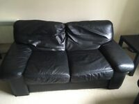 2 x Small Black Leather Sofas. Used. Good Condition