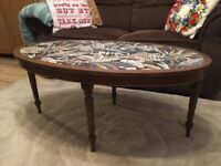 SALE Vintage Wooden Coffee table, plus ceramic coasters, plus free local delivery