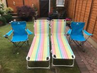 Two Sun loungers and two fold up chairs