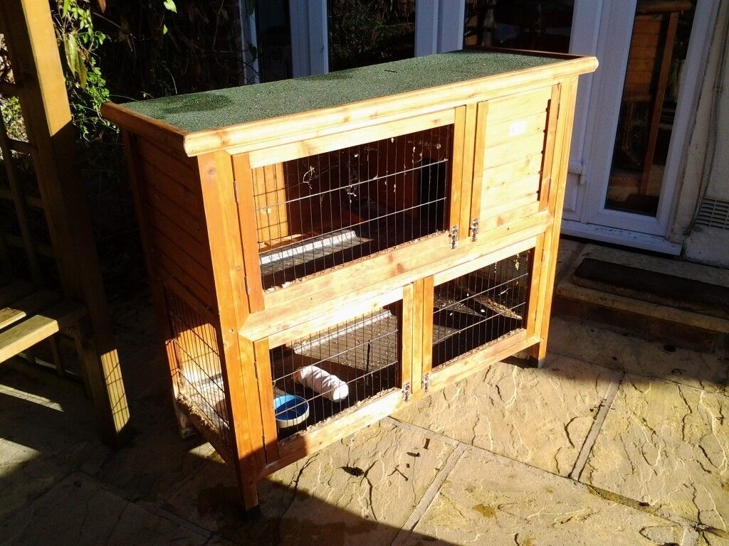 Double Decker Rabbit Hutch with waterproof cover
