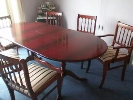 Mahogany effect table and chairs