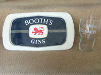 Breweriana man cave - Vintage Booth's Gin metal serving tray
