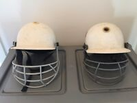 2 Children size 4 White Cricket Helmets