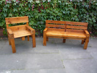 Pallet Chair Set. Lovely treated chair set made from pallets. Will split the two if required.
