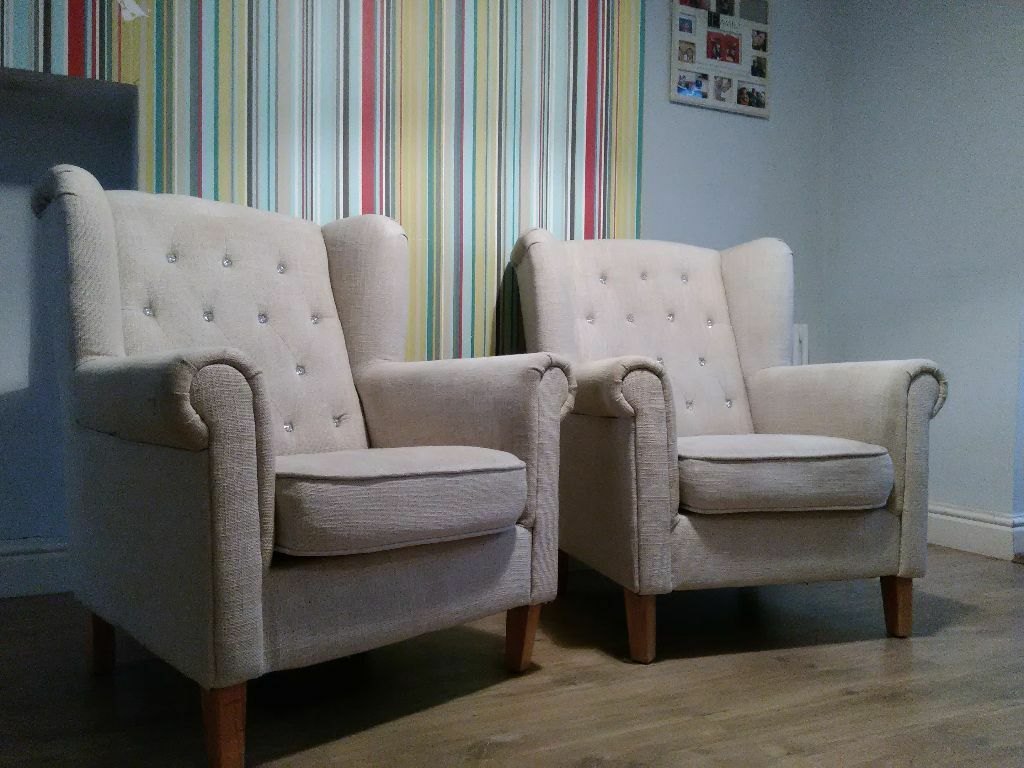 Beautiful Set Of T K Maxx Diamante Arm Chairs
