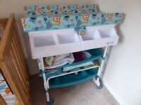 Baby / toddler changing unit including bath with drain under changing mat, 2 large shelves. Exc cond