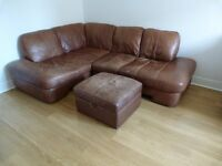 Soft Leather Corner Sofa + Matching Foot Stool with Storage £200 ono