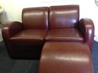 Burgundy Laether Two Seater Sofa With Foot Stool | Modern